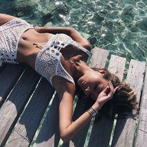 Women's High Waist Bikini Set Swimwear Swimsuit Lace Beachwear Bathing Suit US image 10