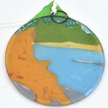 Handmade Fused Art Glass Sasquatch Big Foot Fishing Ornament Sun Catcher Ecuador image 2