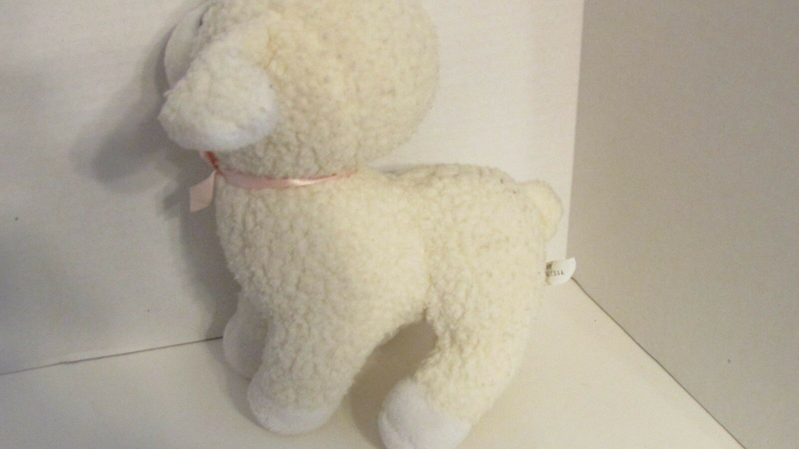 Enesco plush firm standing lamb sheep nubby fur pink bow older off-white cream image 4