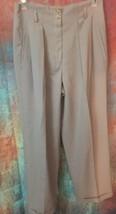 Jones New York Womens 6 100% Wool Pleated Dress Pants Neutral W Pockets ... - $12.86