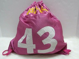 "Pittsburgh # 43 Hot Pink Drawstring Cinch String Backpack Bag Lined 16""x... - $20.79"