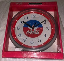 "2000 Vintage Coca Cola Quartz Wall Clock NIB 8"" Plastic Red White & Blue... - £16.70 GBP"