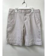 Tommy Hilfiger Womens Flat Front Seersucker Shorts Beige  White Striped ... - $18.95