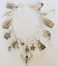 Medieval Theme Charm Bracelet Handcrafted Jewelry + Free Organza Roses G... - $21.99