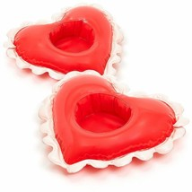Pool Drink Floats Ban.do NWT Set Of 2 Vinyl Red Heart Inflatable Floaties - $10.23