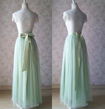 Floor Length Full Tulle Skirt Bridesmaid Long Tulle Skirt Back-bow Pastel Green  image 8