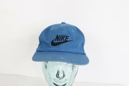 Vintage 90s Nike Spell Out Big Swoosh Logo Adjustable Snapback Hat Cap Blue - $34.60