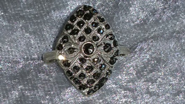 Vintage diamond shape Marcasite Sterling silver ring Downton Abbey size 5 - $38.00