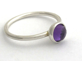 Authentic Pandora February Droplet Silver, Amethyst Ring 191012AM-58 Sz ... - $39.35