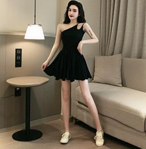 Solid color sexy off-the-shoulder personality unilateral sling skater dress - $17.80