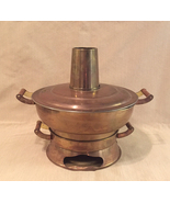 Vintage Asian hot pot brass Chinese rice or soup cooker Mongolian fire pot - $28.00