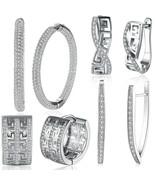 Hoop Earrings SWAROVSKI  CRYSTAL Cubic Zirconia 18K White Gold Rhodium-P... - $9.99