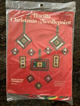 Vintage SEALED Bucilla Christmas Needlepoint Kit Ornaments Set of 3 #60381 - $15.00