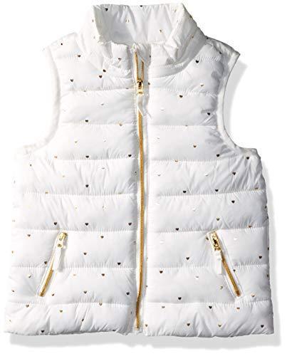 Gymboree Girls' Big Puffer Vest, White/Gold Heart, 3T