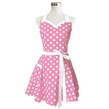 Lovely Sweetheart Pink Retro Kitchen Aprons Woman Girl Cotton Polka Dot ... - $19.68