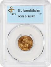 1895 1c PCGS MS65 RD ex: D.L. Hansen - Lustrous Gem! - Indian Cent - $970.00