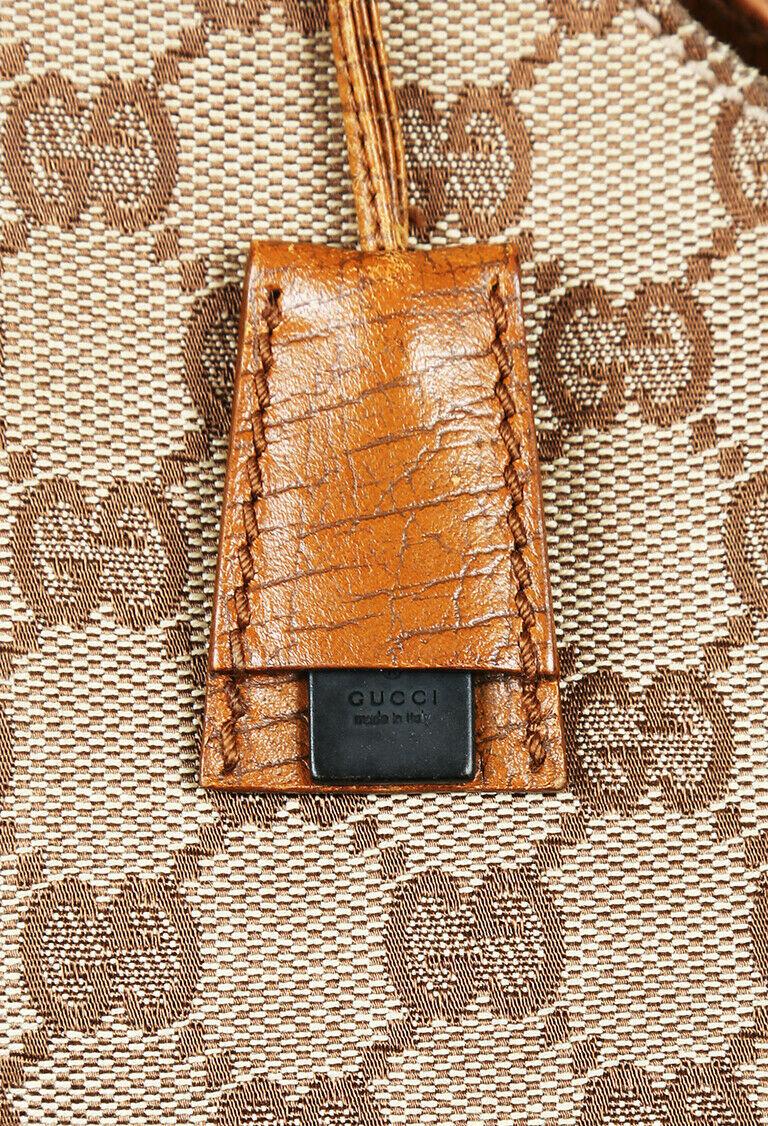 Vintage Gucci Monogram Canvas Wood Shoulder Bag