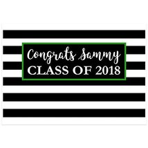 Class of 2018 Graduation Personalized Banner Decoration Black and Green ... - £32.75 GBP