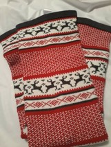 Knitty kitty Leg Warmers Red White Reindeer pattern Medium 23 inch - $19.31