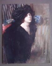 ITALIAN LADY Brunette in Black Pensive - COLOR Antique Print - $12.15