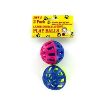 Large Double Action Play Balls with Bells Cat Toys (set of 2) - £3.77 GBP