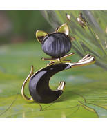 Cute Enamel Black/White Opal Cat Brooches 18K Gold Plated Jewelry For Gift - $17.49