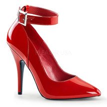 "PLEASER Sexy Red 5"" Stiletto High Heel Pumps Ankle Strap Shoes SED431/R - $37.95"