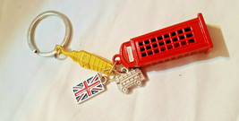 Key Ring Chain London Big Ben Clock Red Double Decker Bus Telephone Boot... - $7.59