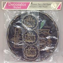 Vtg Souvenir South Dakota State Round Black Tray w 6 Coasters Pasque Flo... - $29.69