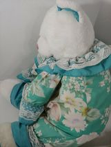 Enesco Plush white teddy bear green floral flowers outfit lace collar pink nose image 12
