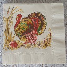Vintage Unused Thanksgiving Paper Napkins Turkey Harvest Fall Holiday Lo... - $8.99