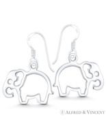 Elephant Wildlife Animal Charm Cutout 925 Sterling Silver Dangling Hook ... - $23.19