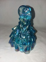 Vintage Wheatonware Carnival Glass Doll Blue Girl Bonnet and Purse Art G... - $28.99