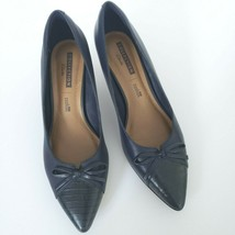 Womens Clarks Crewso Calica Pumps Shoes Size 8 M Navy Leather Upper Soft Cushion - $29.70