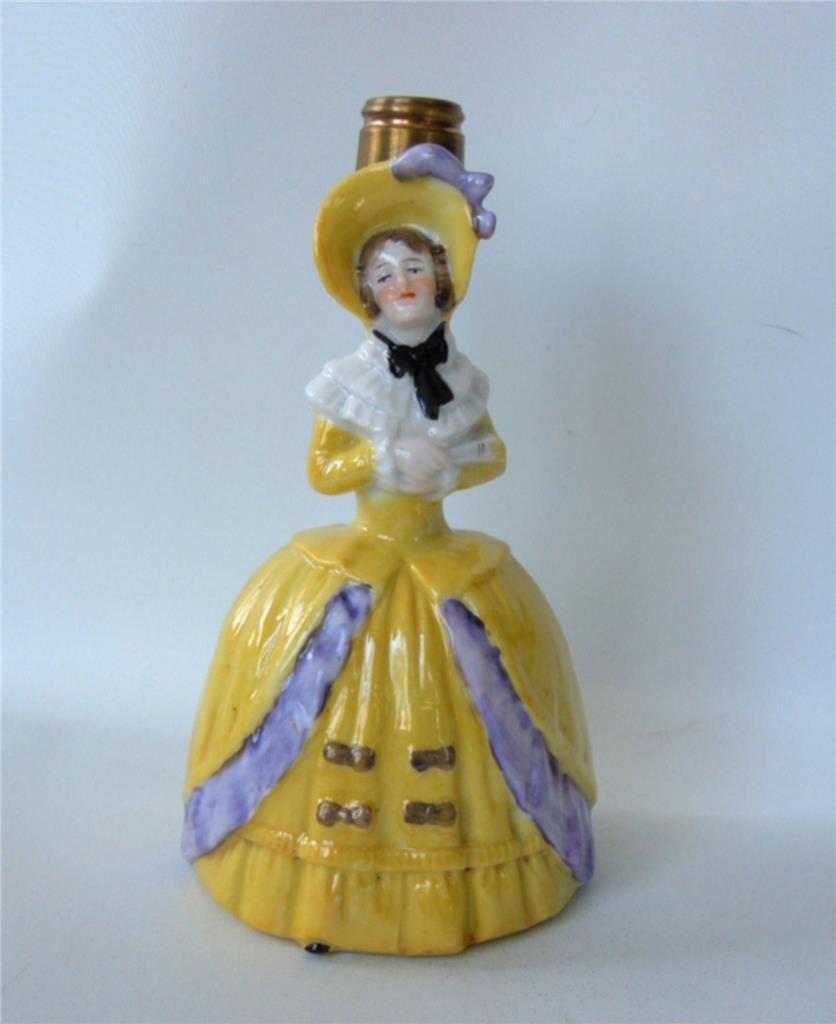"Vintage German Figural Lady Perfume Bottle Vase Lamp Base 5"" Porcelain Yellow"