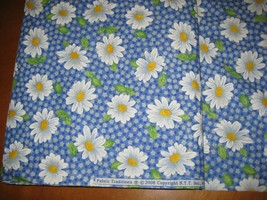 White Daisy on Blue Calico quilter  fabric cotton OOP  by the yard vintage  - $11.39