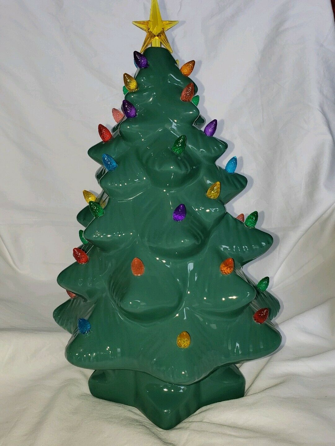 Primary image for Mr. Christmas Nostalgic Porcelain Green LED Christmas Tree 15 Inches Tall