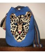 Authentic 100% Wayuu Mochila Colombian Bag Large Size special LEOPARD bLUE - £114.71 GBP