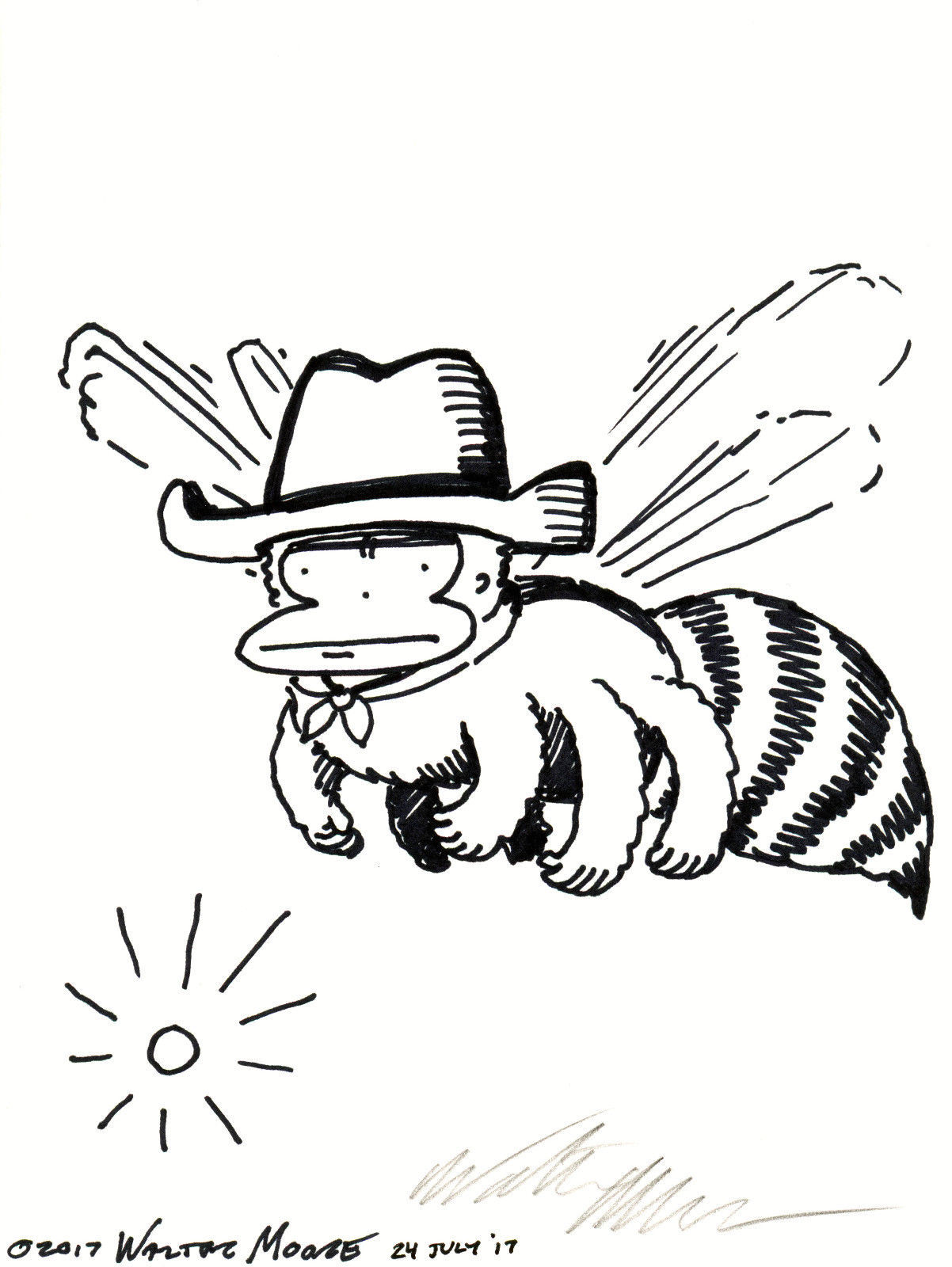 Primary image for Stern Cowboy Ape Bee. Original Signed Cartoon by Walter Moore