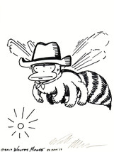 Stern Cowboy Ape Bee. Original Signed Cartoon by Walter Moore - $9.54