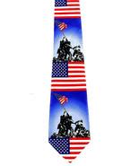 Iwo Jima Marines Men's Neck Tie Military US Flag WWII Patriotic Blue Nec... - $15.79