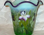 Fenton Vase Designer Showcase Series Willow Opalescent Purple Iris By B Fenton