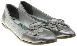 SPERRY TOPSIDER Harper Gray Chambray Fabric / Leather Brogue Tassel Flats 7.5 - $21.52