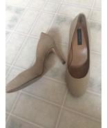 Ann Taylor Women's True Khaki Beige Perfect Pump size 8M High Heels Leather - $32.38