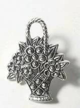 Vintage Avon Fashion Jewelry Antique Silver Tone Flower Basket Pin  - $8.86