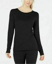Ideology Womens Long Sleeve Keyhole-Back Top Activewear Tops Deep Black ... - $14.99