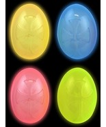 GLOW IN THE DARK EASTER EGGS PLASTIC HINGED PARTY FAVOR EGG HUNT TOY 24 ... - $14.73