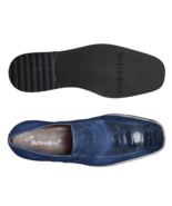 Belvedere Gavino Ostrich /Italian Calf Slip On Royal Blue Dress Shoes 265 - £259.81 GBP
