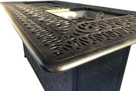 Fire pit propane bar table set 7 piece outdoor cast aluminum Palm Tree bar stool image 3