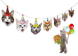 Birthday Cat Garland by Gyzone, Funny Photographic Cat Faces Birthday Ba... - $6.43